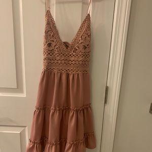 Blush Dress with Lace Eyelet Detail